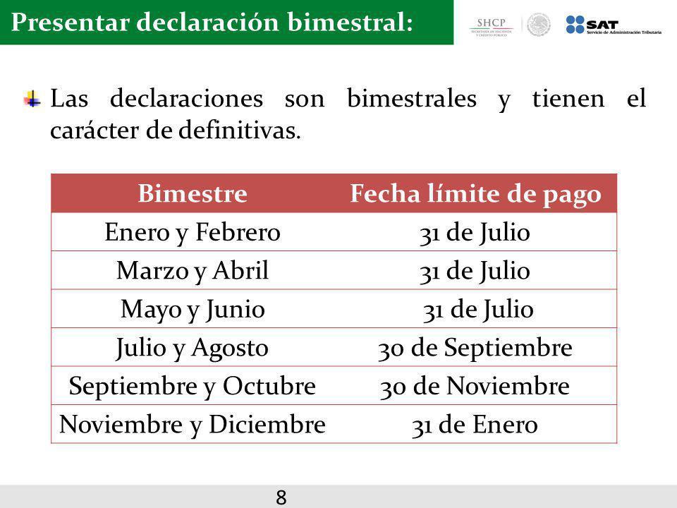 Presentar declaración bimestral: Las declaraciones son bimestrales y tienen el carácter de definitivas. BimestreFecha límite de pago Enero y Febrero31