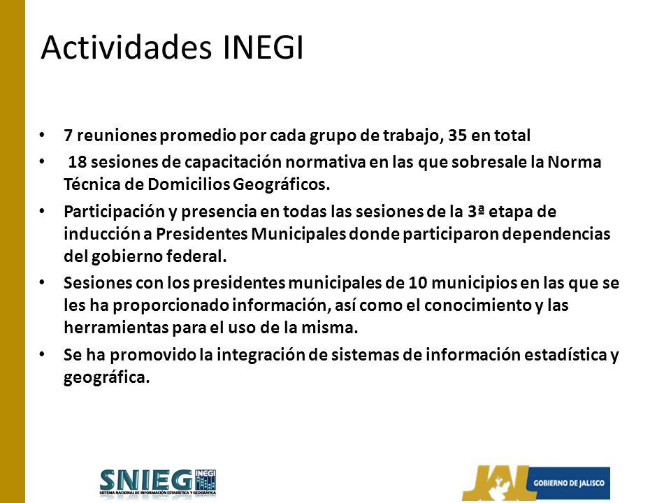 Actividades INEGI 7 reuniones promedio por cada grupo de trabajo, 35 en total 18 sesiones de capacitación normativa en las que sobresale la Norma Técnica de Domicilios Geográficos.
