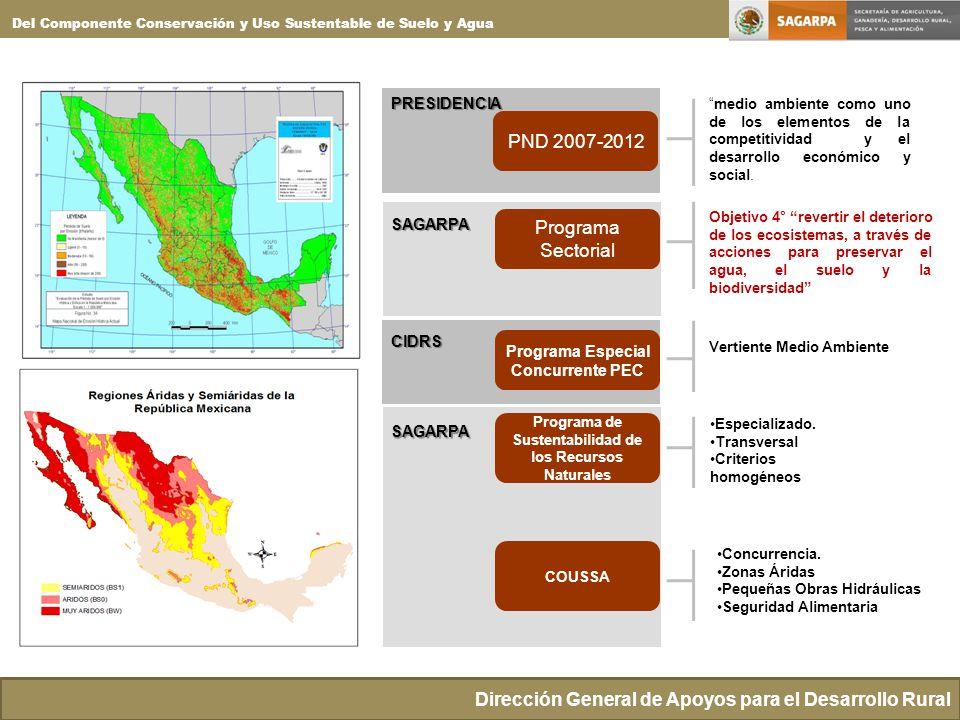 Dirección General de Apoyos para el Desarrollo Rural Del Componente Conservación y Uso Sustentable de Suelo y Agua PND 2007-2012 medio ambiente como uno de los elementos de la competitividad y el desarrollo económico y social.