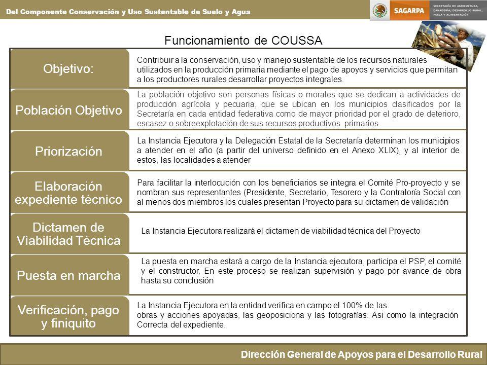 Funcionamiento de COUSSA Dirección General de Apoyos para el Desarrollo Rural Del Componente Conservación y Uso Sustentable de Suelo y Agua Objetivo:P