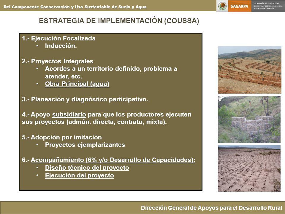 ESTRATEGIA DE IMPLEMENTACIÓN (COUSSA) Dirección General de Apoyos para el Desarrollo Rural Del Componente Conservación y Uso Sustentable de Suelo y Ag