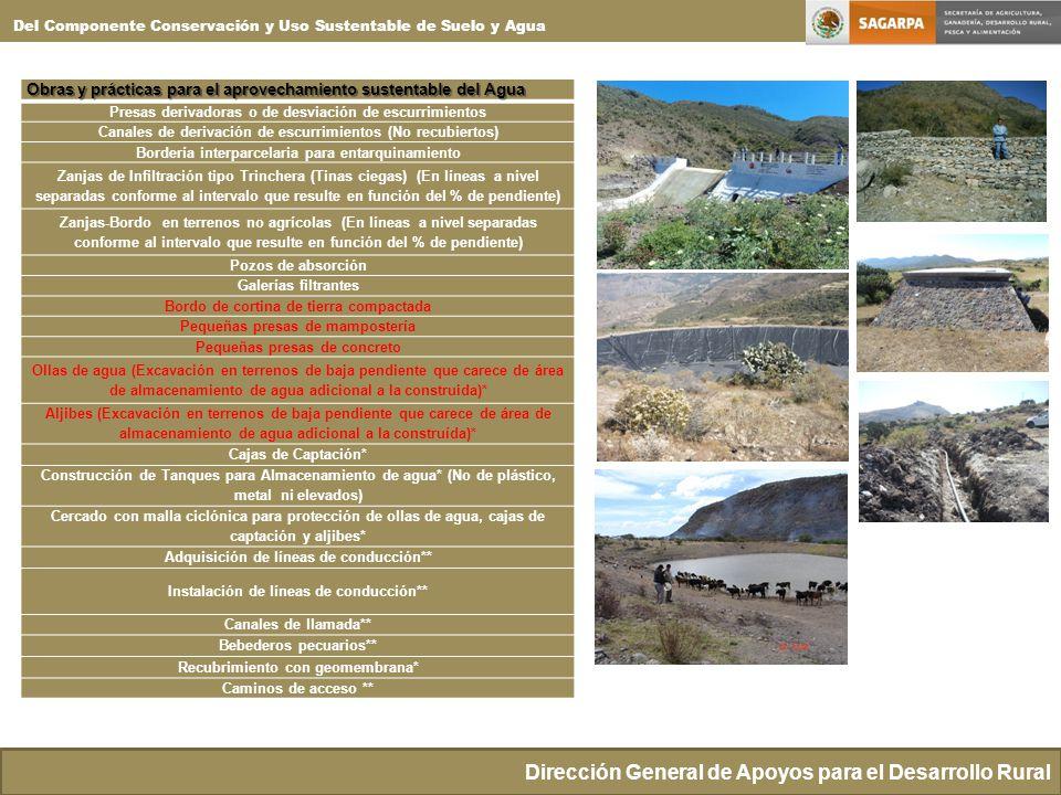 Del Componente Conservación y Uso Sustentable de Suelo y Agua Obras y prácticas para el aprovechamiento sustentable del Agua Presas derivadoras o de d
