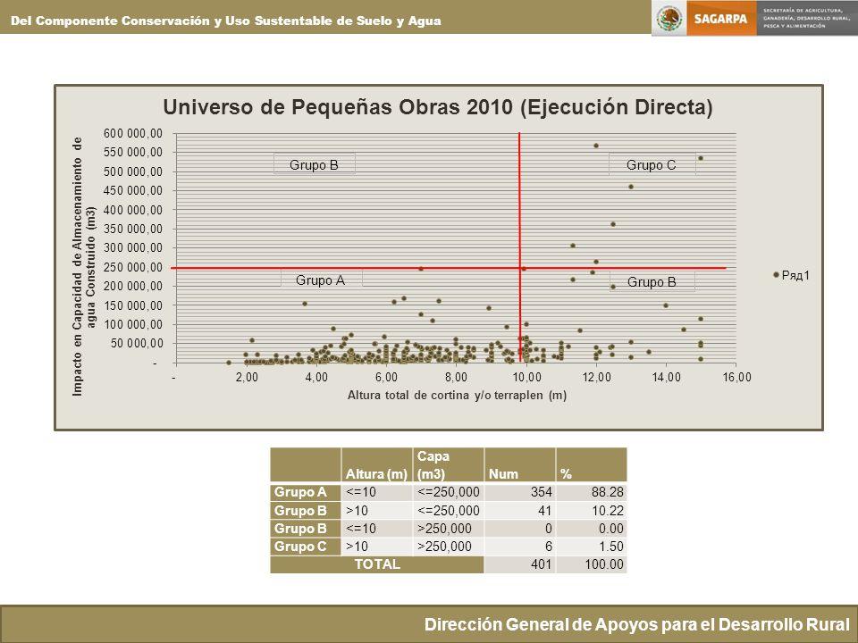 Dirección General de Apoyos para el Desarrollo Rural Del Componente Conservación y Uso Sustentable de Suelo y Agua Altura (m) Capa (m3)Num% Grupo A<=10<=250,00035488.28 Grupo B>10<=250,0004110.22 Grupo B<=10>250,00000.00 Grupo C>10>250,00061.50 TOTAL401100.00