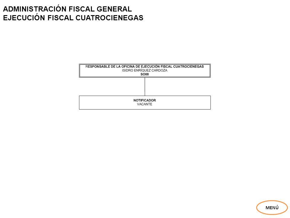 ADMINISTRACIÓN FISCAL GENERAL EJECUCIÓN FISCAL CUATROCIENEGAS MENÚ