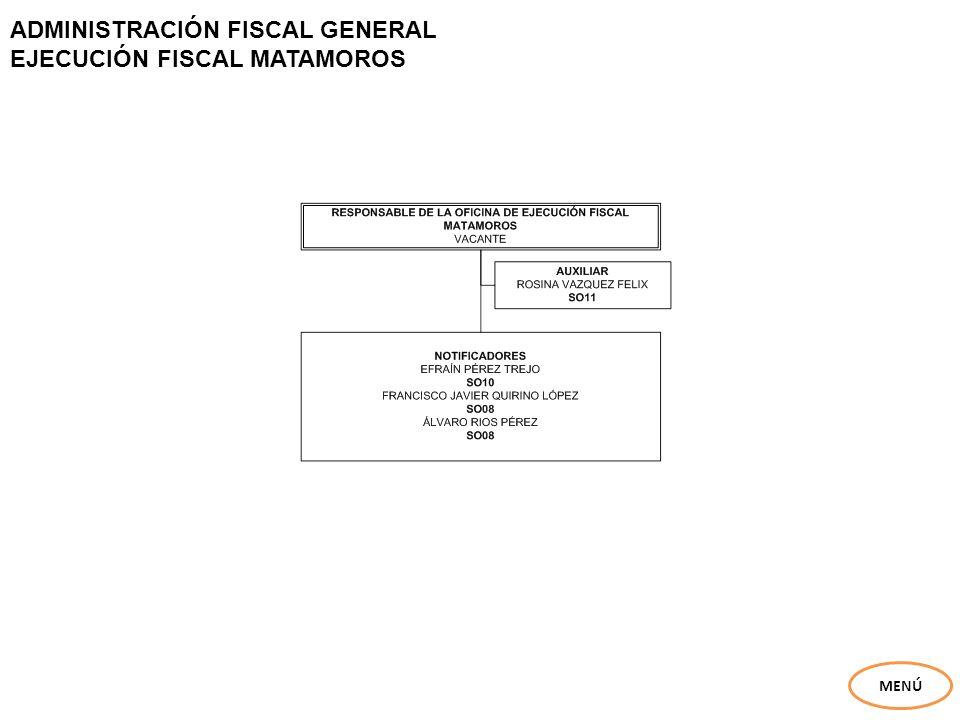 ADMINISTRACIÓN FISCAL GENERAL EJECUCIÓN FISCAL MATAMOROS MENÚ