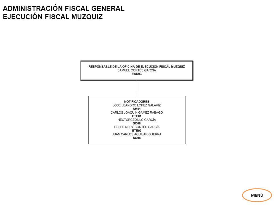 ADMINISTRACIÓN FISCAL GENERAL EJECUCIÓN FISCAL MUZQUIZ MENÚ