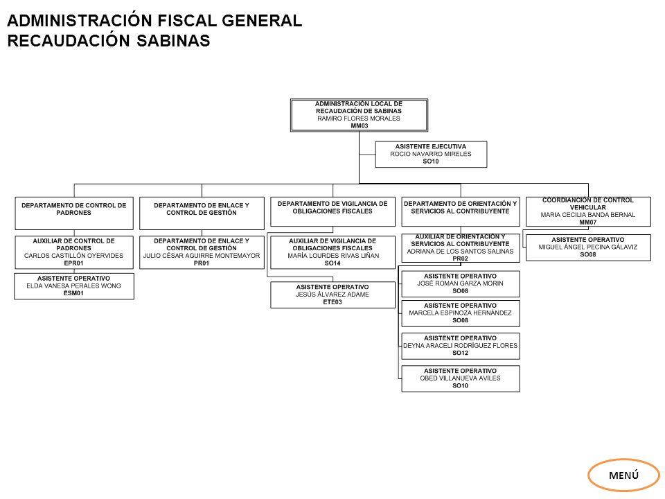 ADMINISTRACIÓN FISCAL GENERAL ADMINISTRACIÓN ANÁLISIS ESTADÍSTICO Y SEGUIMIENTO DE AUDITORÍAS MENÚ