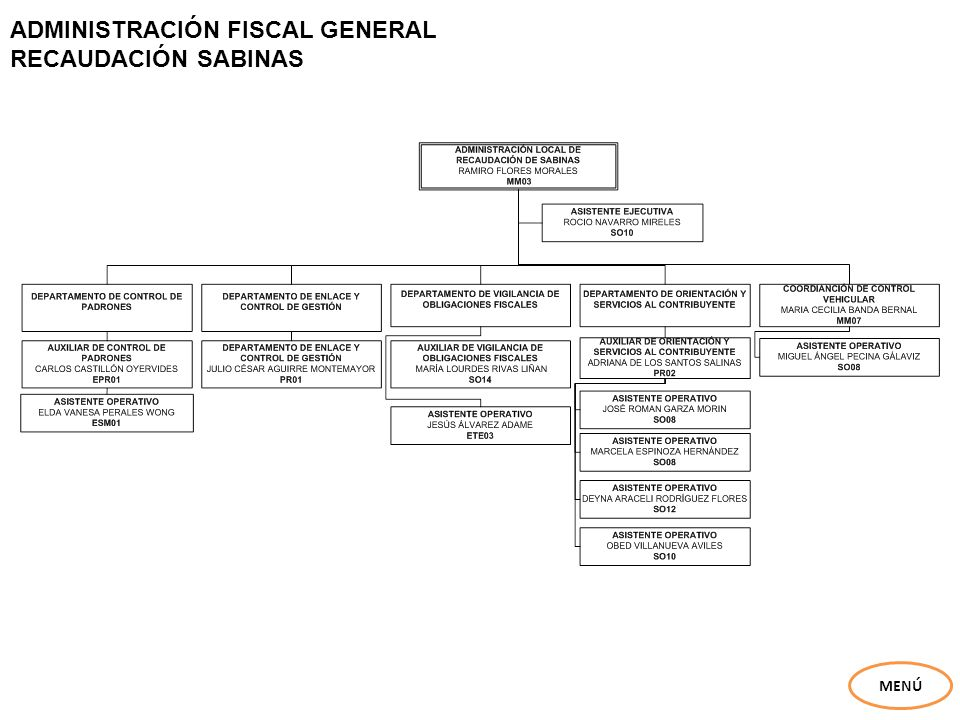 ADMINISTRACIÓN FISCAL GENERAL EJECUCIÓN FISCAL ALLENDE MENÚ