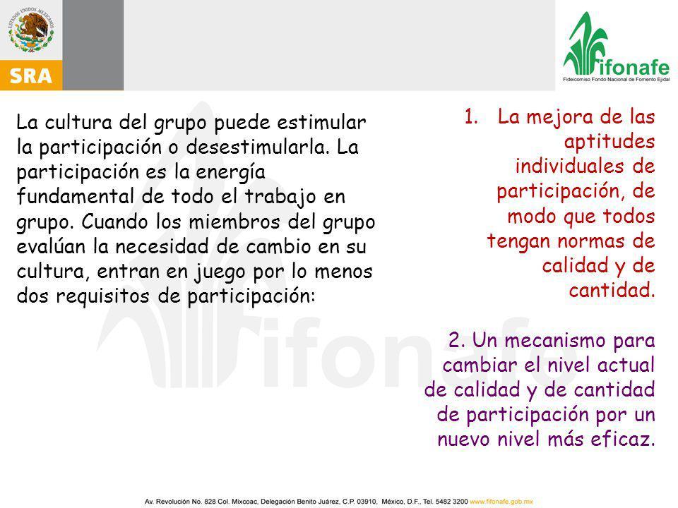 La cultura del grupo puede estimular la participación o desestimularla.