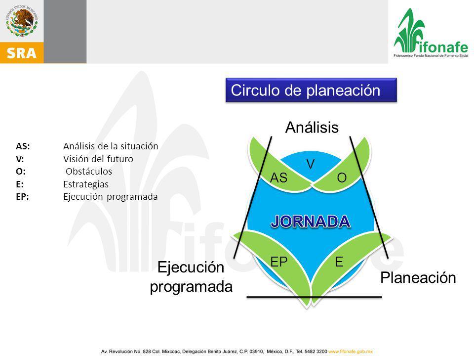 Análisis Ejecución programada Planeación ASO V EEP AS:Análisis de la situación V: Visión del futuro O: Obstáculos E: Estrategias EP: Ejecución programada Circulo de planeación