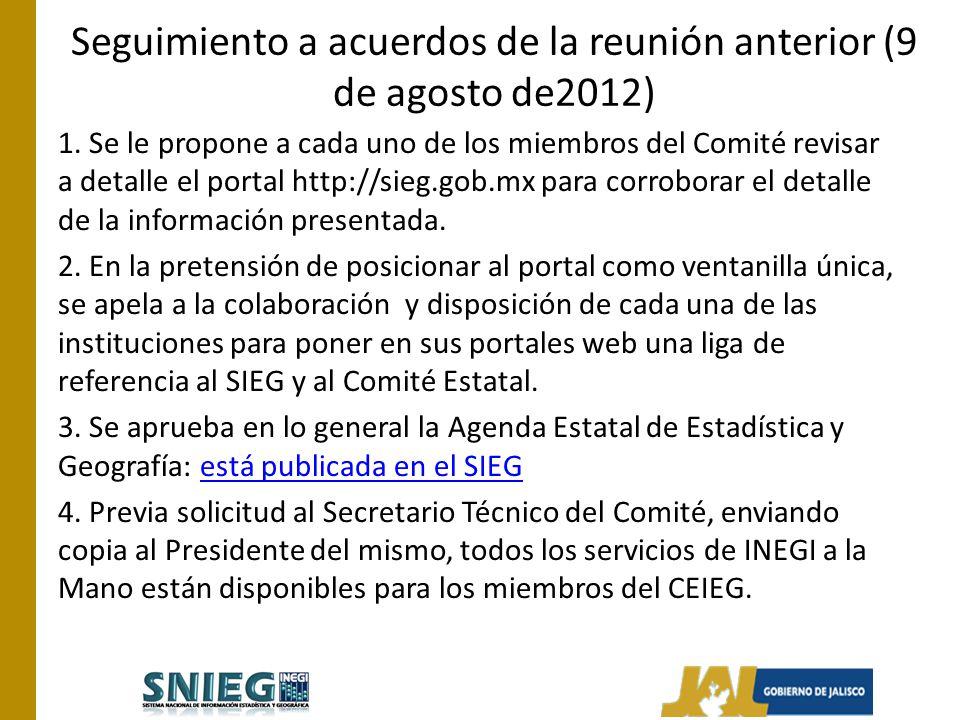 Seguimiento a acuerdos de la reunión anterior (9 de agosto de2012) 1.