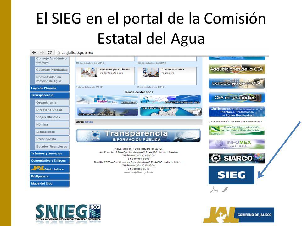 El SIEG en el portal de la Comisión Estatal del Agua