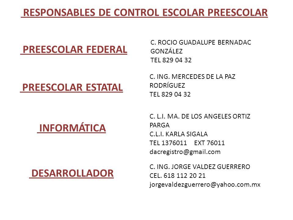 RESPONSABLES DE CONTROL ESCOLAR PREESCOLAR PREESCOLAR FEDERAL C. ROCIO GUADALUPE BERNADAC GONZÁLEZ TEL 829 04 32 PREESCOLAR ESTATAL C. ING. MERCEDES D
