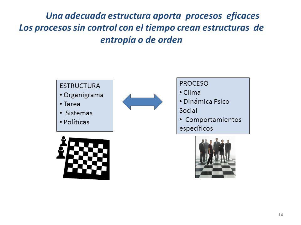 14 Una adecuada estructura aporta procesos eficaces Los procesos sin control con el tiempo crean estructuras de entropía o de orden ESTRUCTURA Organigrama Tarea Sistemas Políticas PROCESO Clima Dinámica Psico Social Comportamientos específicos