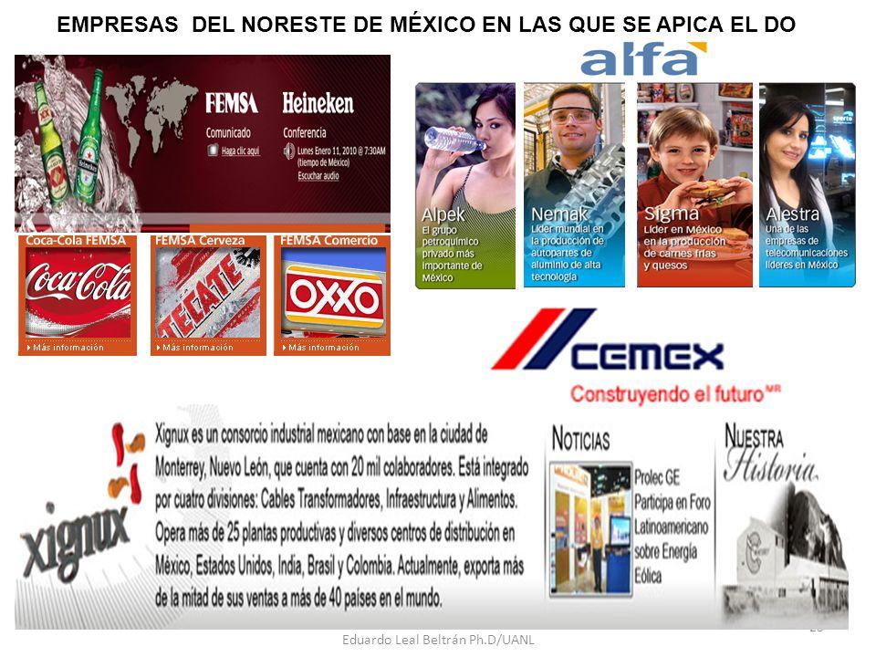 Eduardo Leal Beltrán Ph.D/UANL 25 EMPRESAS DEL NORESTE DE MÉXICO EN LAS QUE SE APICA EL DO
