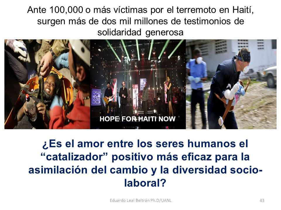 Ante 100,000 o más víctimas por el terremoto en Haití, surgen más de dos mil millones de testimonios de solidaridad generosa Eduardo Leal Beltrán Ph.D/UANL43 ¿Es el amor entre los seres humanos el catalizador positivo más eficaz para la asimilación del cambio y la diversidad socio- laboral.