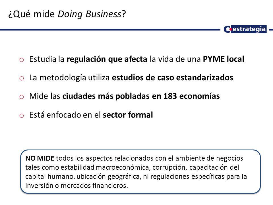 2 ¿Qué mide Doing Business? o Estudia la regulación que afecta la vida de una PYME local o La metodología utiliza estudios de caso estandarizados o Mi