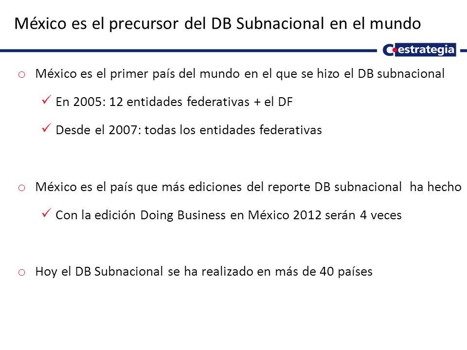 4 México es el precursor del DB Subnacional en el mundo o México es el primer país del mundo en el que se hizo el DB subnacional En 2005: 12 entidades federativas + el DF Desde el 2007: todas los entidades federativas o México es el país que más ediciones del reporte DB subnacional ha hecho Con la edición Doing Business en México 2012 serán 4 veces o Hoy el DB Subnacional se ha realizado en más de 40 países