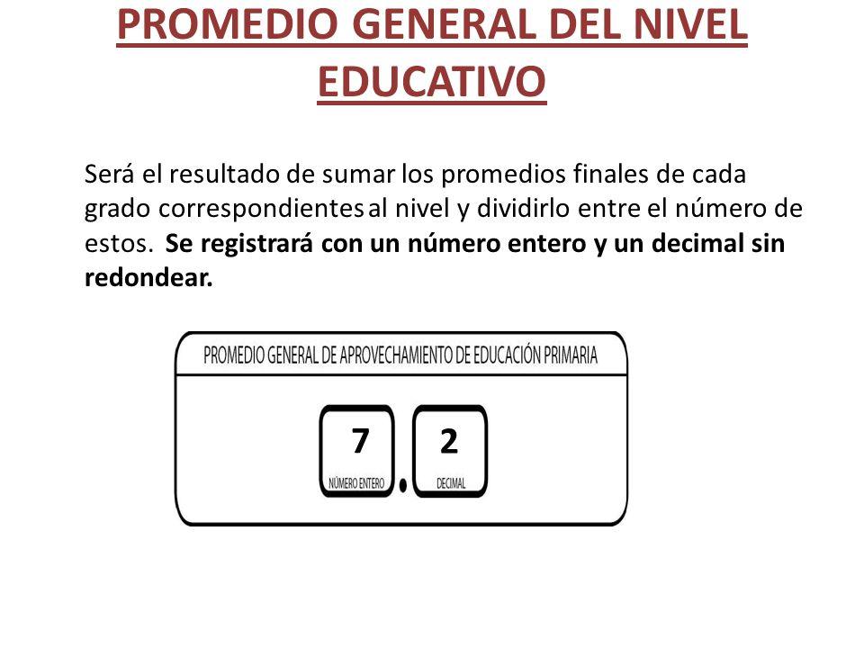 PROMEDIO GENERAL DEL NIVEL EDUCATIVO Será el resultado de sumar los promedios finales de cada grado correspondientes al nivel y dividirlo entre el núm