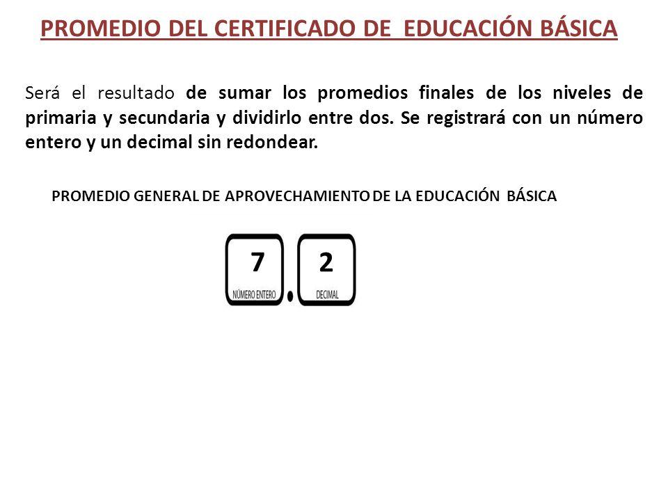 PROMEDIO DEL CERTIFICADO DE EDUCACIÓN BÁSICA Será el resultado de sumar los promedios finales de los niveles de primaria y secundaria y dividirlo entr