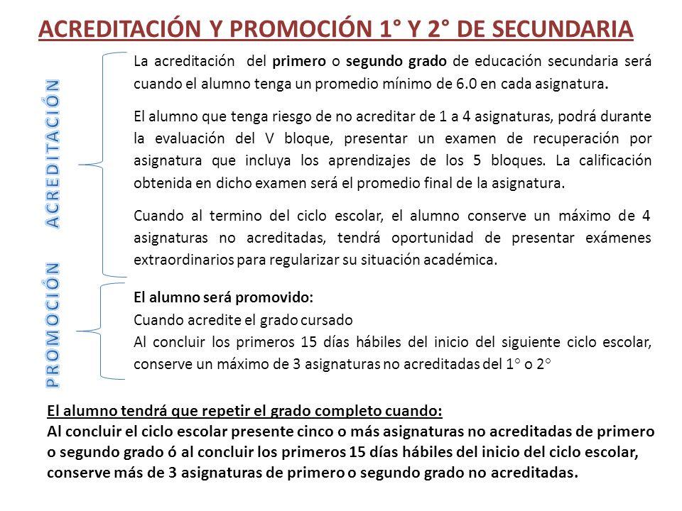 ACREDITACIÓN Y PROMOCIÓN 1° Y 2° DE SECUNDARIA La acreditación del primero o segundo grado de educación secundaria será cuando el alumno tenga un prom