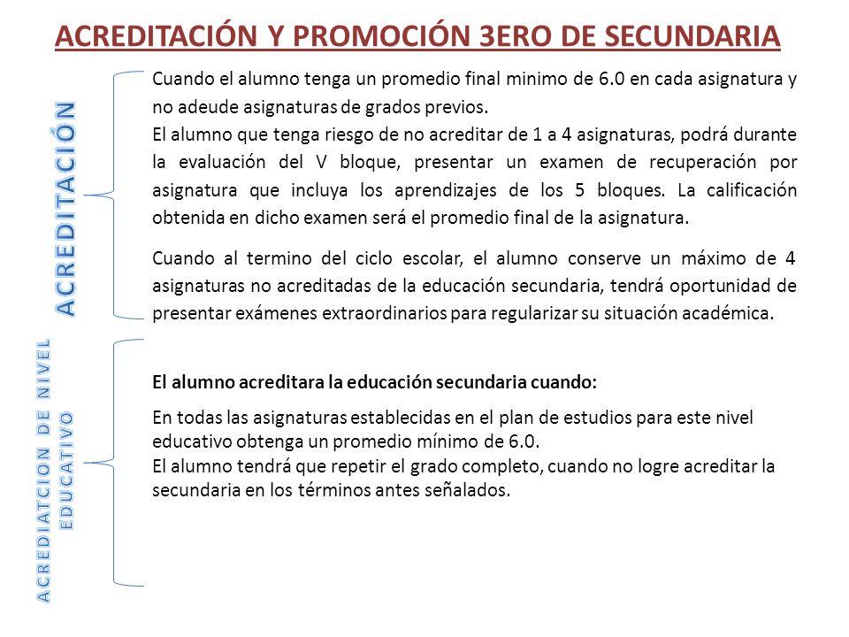 ACREDITACIÓN Y PROMOCIÓN 3ERO DE SECUNDARIA Cuando el alumno tenga un promedio final minimo de 6.0 en cada asignatura y no adeude asignaturas de grado