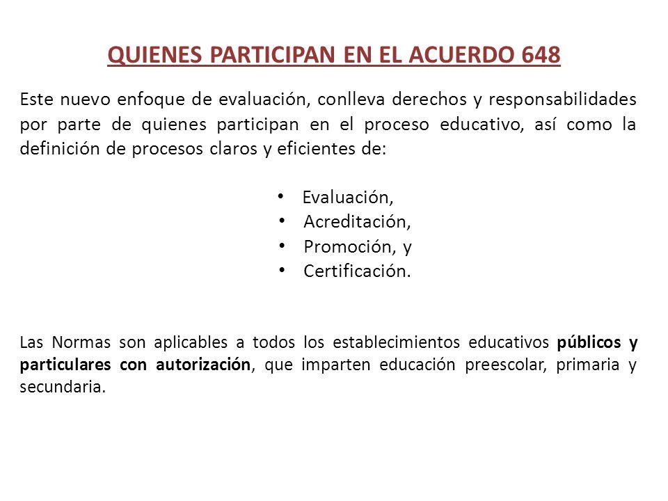 Este nuevo enfoque de evaluación, conlleva derechos y responsabilidades por parte de quienes participan en el proceso educativo, así como la definició
