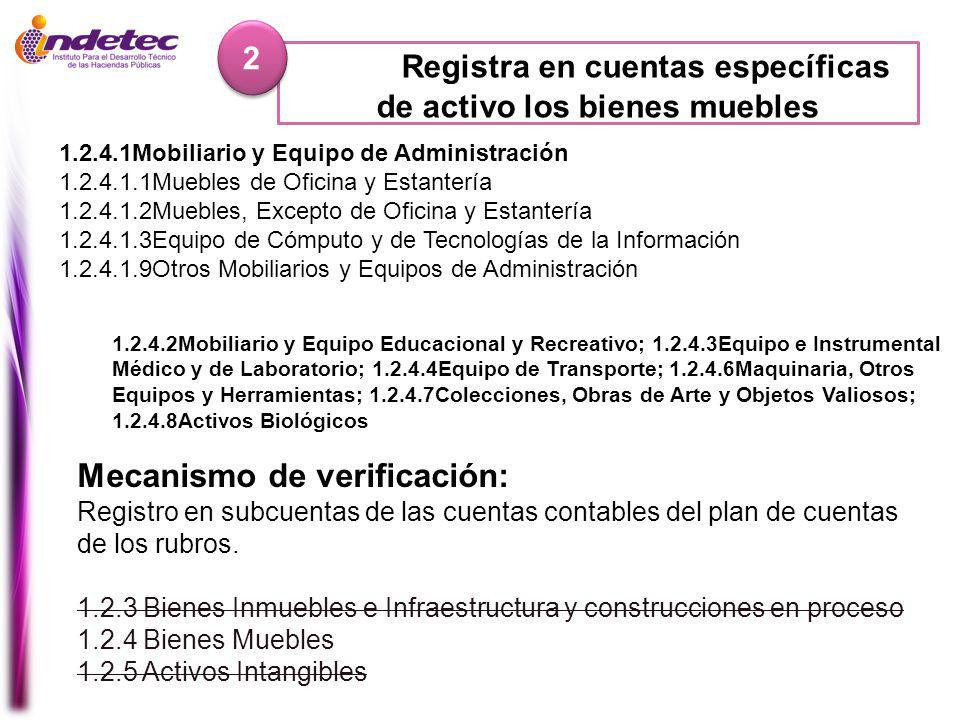 Mecanismo de verificación: Registro en subcuentas de las cuentas contables del plan de cuentas de los rubros.
