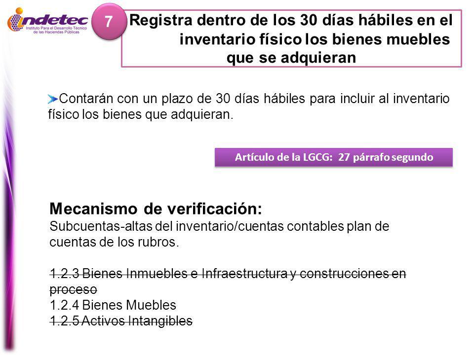 Mecanismo de verificación: Subcuentas-altas del inventario/cuentas contables plan de cuentas de los rubros.