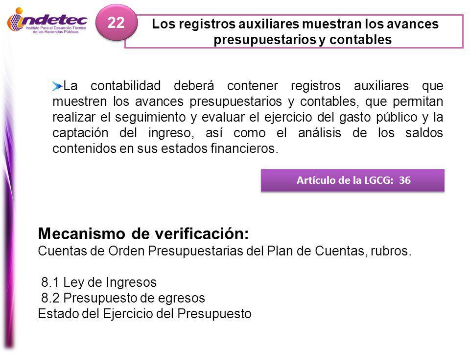 Los registros auxiliares muestran los avances presupuestarios y contables 22 Artículo de la LGCG: 36 Mecanismo de verificación: Cuentas de Orden Presupuestarias del Plan de Cuentas, rubros.