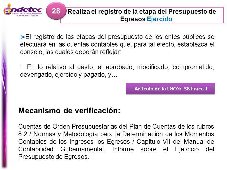 Realiza el registro de la etapa del Presupuesto de Egresos Ejercido 28 Artículo de la LGCG: 38 Fracc.