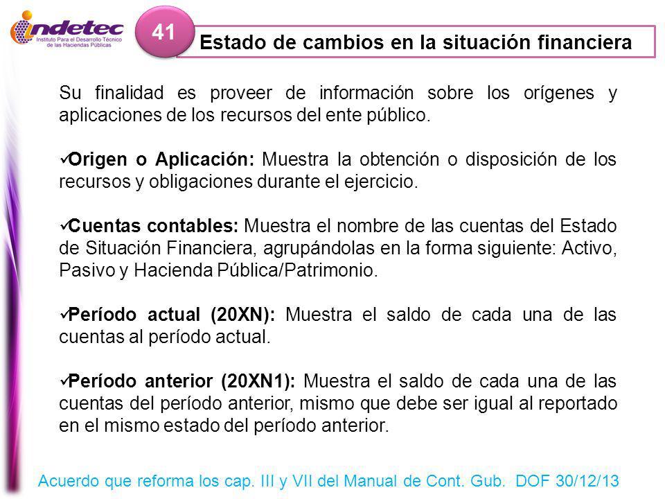 Estado de cambios en la situación financiera 41 Su finalidad es proveer de información sobre los orígenes y aplicaciones de los recursos del ente público.