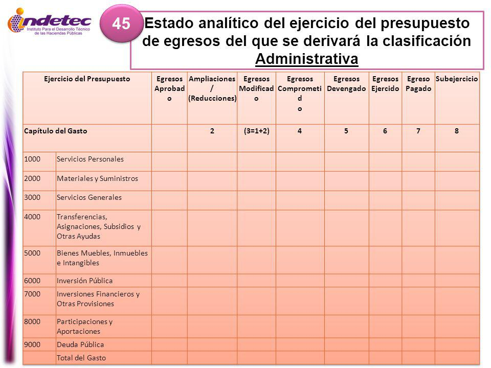 Estado analítico del ejercicio del presupuesto de egresos del que se derivará la clasificación Administrativa 45