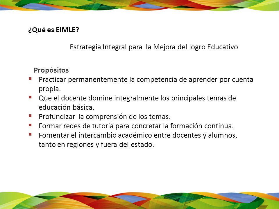 ¿Qué es EIMLE? Estrategia Integral para la Mejora del logro Educativo Propósitos Practicar permanentemente la competencia de aprender por cuenta propi