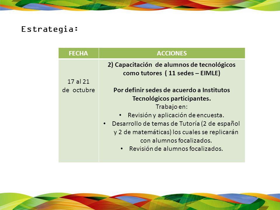 FECHAACCIONES 17 al 21 de octubre 2) Capacitación de alumnos de tecnológicos como tutores ( 11 sedes – EIMLE) Por definir sedes de acuerdo a Instituto