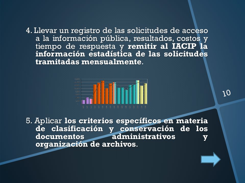 4. Llevar un registro de las solicitudes de acceso a la información pública, resultados, costos y tiempo de respuesta y remitir al IACIP la informació