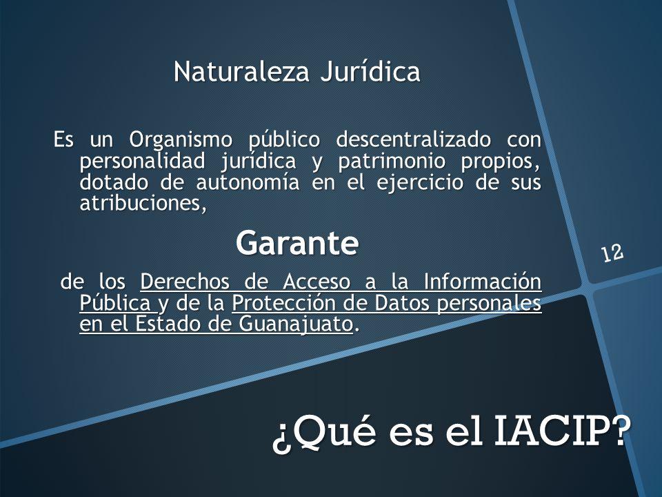 ¿Qué es el IACIP? Naturaleza Jurídica Es un Organismo público descentralizado con personalidad jurídica y patrimonio propios, dotado de autonomía en e