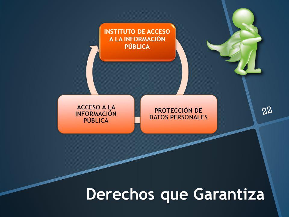 Derechos que Garantiza 22 INSTITUTO DE ACCESO A LA INFORMACIÓN PÚBLICA PROTECCIÓN DE DATOS PERSONALES ACCESO A LA INFORMACIÓN PÚBLICA