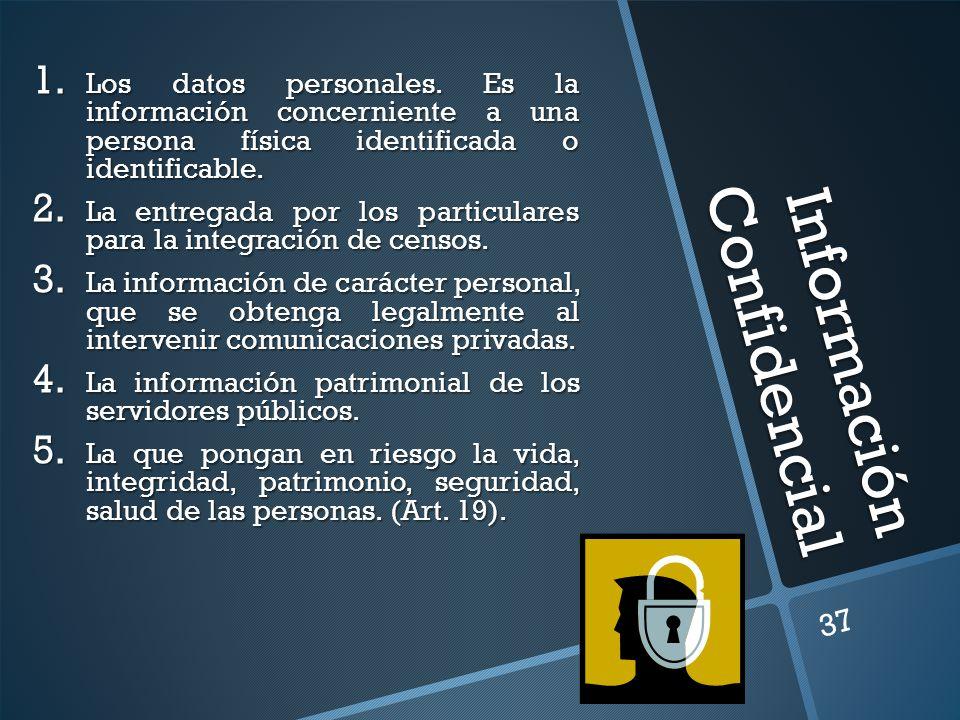 Información Confidencial 1. Los datos personales. Es la información concerniente a una persona física identificada o identificable. 2. La entregada po