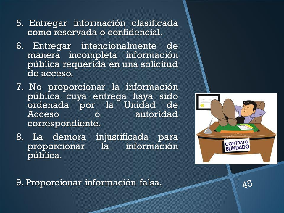 5. Entregar información clasificada como reservada o confidencial. 6. Entregar intencionalmente de manera incompleta información pública requerida en
