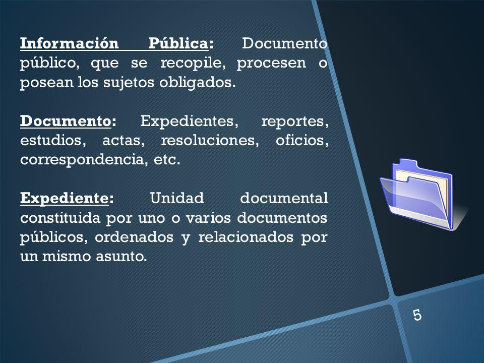 5 Información Pública: Documento público, que se recopile, procesen o posean los sujetos obligados. Documento: Expedientes, reportes, estudios, actas,