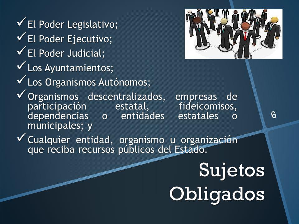 Sujetos Obligados El Poder Legislativo; El Poder Legislativo; El Poder Ejecutivo; El Poder Ejecutivo; El Poder Judicial; El Poder Judicial; Los Ayunta