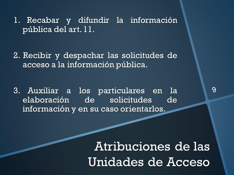Atribuciones de las Unidades de Acceso 1. Recabar y difundir la información pública del art. 11. 2. Recibir y despachar las solicitudes de acceso a la