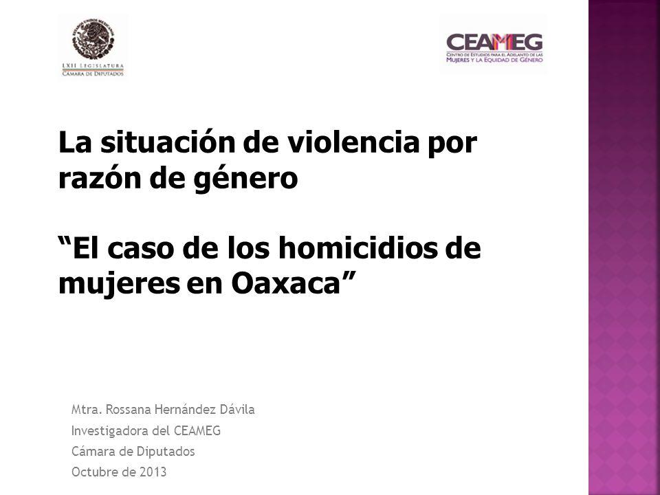 Mtra. Rossana Hernández Dávila Investigadora del CEAMEG Cámara de Diputados Octubre de 2013