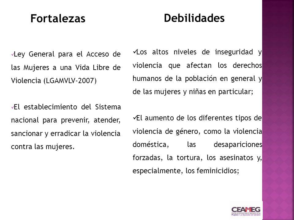 Ley General para el Acceso de las Mujeres a una Vida Libre de Violencia (LGAMVLV-2007) El establecimiento del Sistema nacional para prevenir, atender, sancionar y erradicarla violencia contra las mujeres.