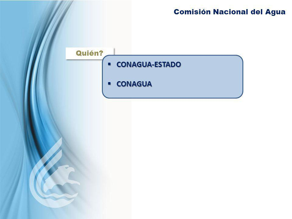 Comisión Nacional del Agua Quién? CONAGUA-ESTADO CONAGUA-ESTADO CONAGUA CONAGUA