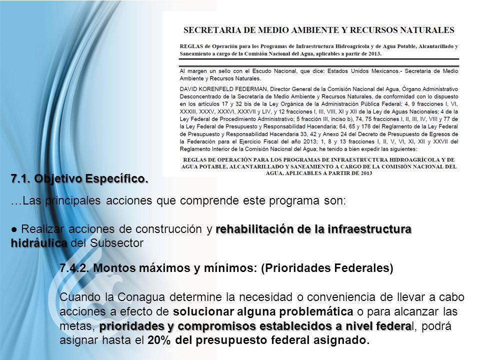 Comisión Nacional del Agua 7.4.2. Montos máximos y mínimos: (Prioridades Federales) prioridades y compromisos establecidos a nivel federa Cuando la Co