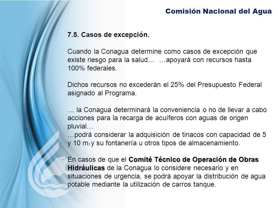 Comisión Nacional del Agua 7.5. Casos de excepción. Cuando la Conagua determine como casos de excepción que existe riesgo para la salud… …apoyará con