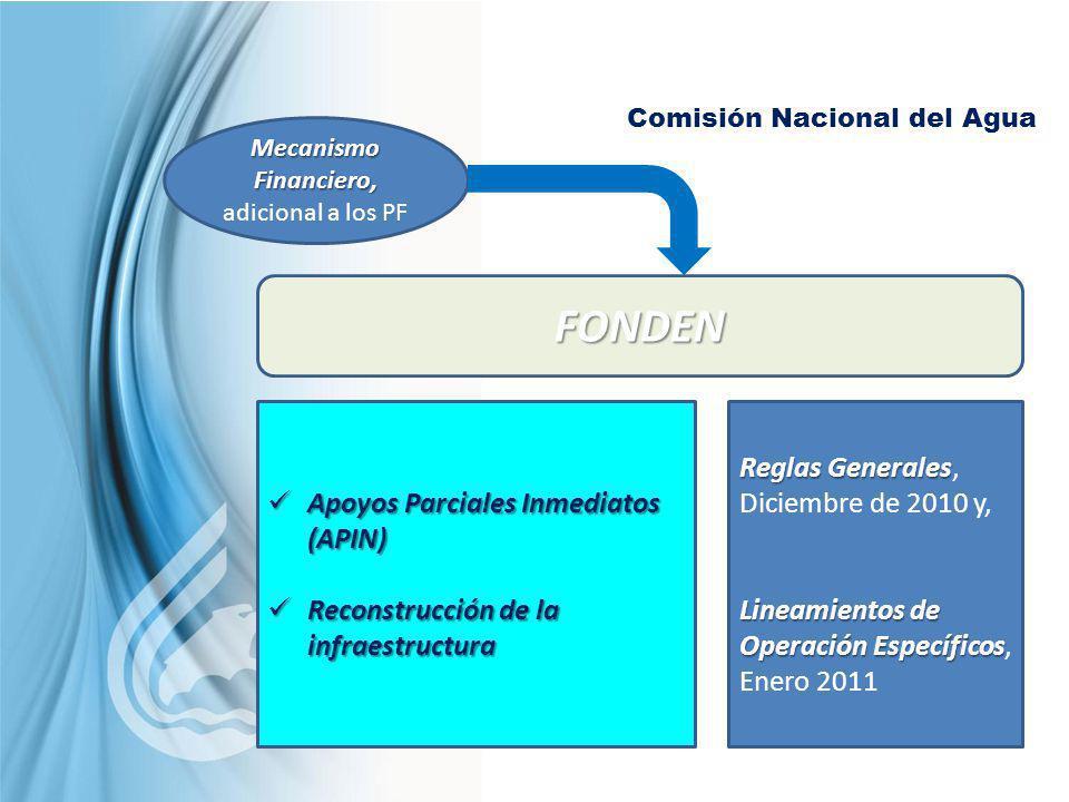 Comisión Nacional del Agua Mecanismo Financiero, Mecanismo Financiero, adicional a los PF FONDEN Apoyos Parciales Inmediatos (APIN) Apoyos Parciales I