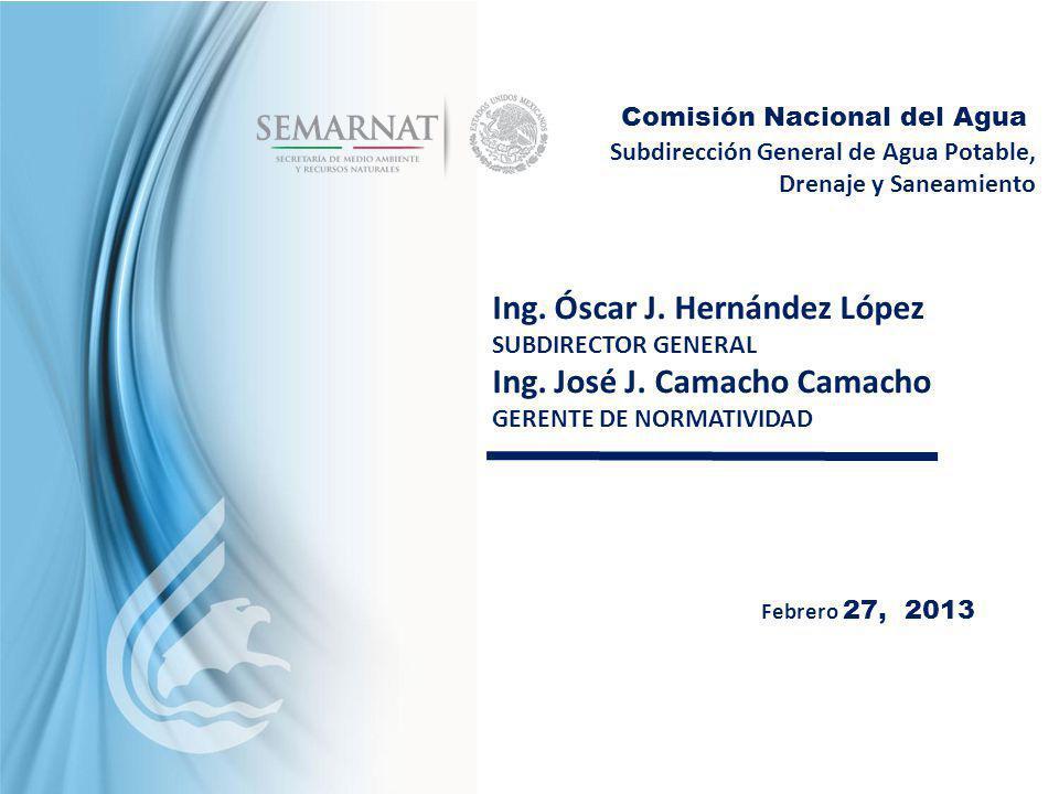 Subdirección General de Agua Potable, Drenaje y Saneamiento Comisión Nacional del Agua Febrero 27, 2013 Ing. Óscar J. Hernández López SUBDIRECTOR GENE